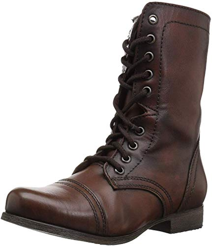 Steve Madden Women's Troopa Lace-Up Boot, Brown Leather, 7 M US