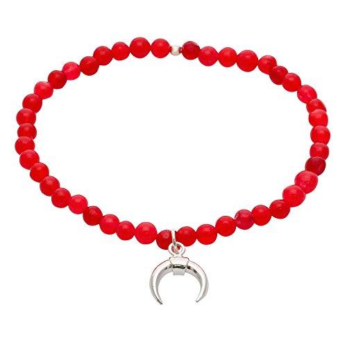 Córdoba Jewels | Pulsera en Plata de Ley 925 con Piedra semipreciosa con diseño Horn Rubí Silver