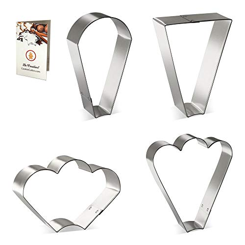 Cookie Platter Cutters Basic 4 Pc Set HS0445 - Trapezoid, Teardrop Round, Clam, Fan Three Bumps & Recipe - USA