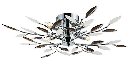Modern berken chroom plafondlamp met 4 lampen en gerookte bladeren
