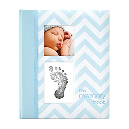 Pearhead First 5 Years Chevron Baby Memory Book with Clean-Touch Baby Safe Ink Pad to Make Baby's Hand or Footprint Included, Blue