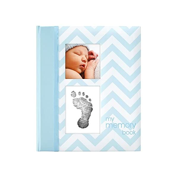 Pearhead First 5 Years Chevron Baby Memory Book with Clean-Touch Baby Safe Ink Pad to Make Baby's Hand or Footprint Included