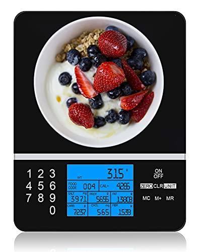Ataller Balance de nutrition alimentaire, affichage des faits nutritionnels, calculatrice précise des aliments et des nutriments, balance de cuisine numérique, verre trempé, noir, piles incluses