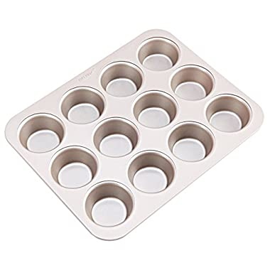 CHEFMADE 12-cavity-2.8  Muffin Pan, Non-stick Carbon Steel Cupcake Mold, FDA Approved for Oven Baking (Champagne Gold)