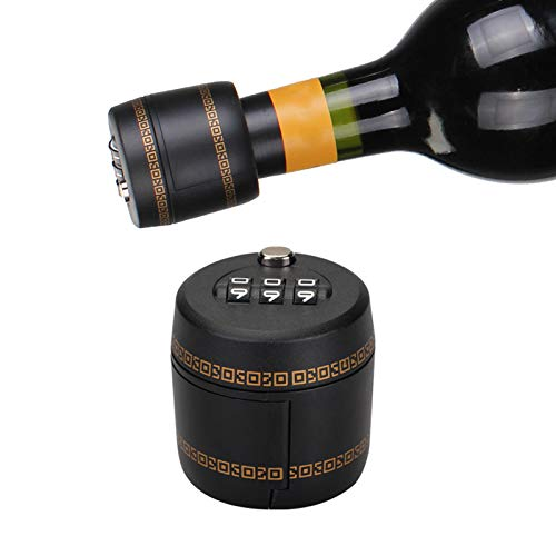 Wine bottle lock,Liquor Bottle-Wine Whiskey Bottle Top Stopper - Bottle Password Code Lock - Wine Digital Lock (Diameter of the bottle mouth must be between 26mm to 28mm/1.02 to1.1inch)(BLACK)
