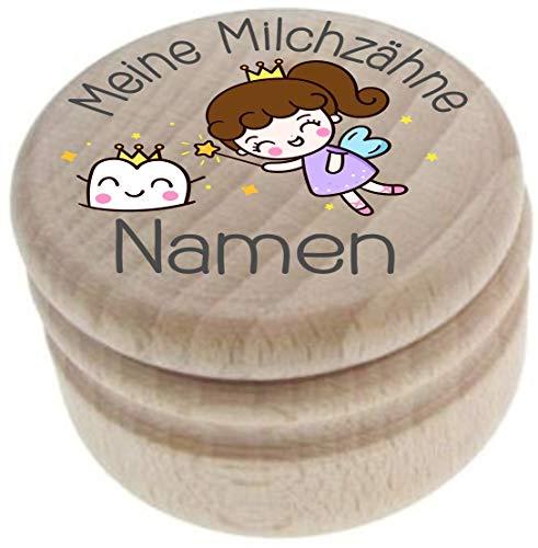 Milchzahndose aus Holz – Meine Milchzähne – Zahndose mit Namen personalisiert – Die Zahnbox hat einen Deckel mit Schraubverschluss - perfekt als kleines Geschenk · Zahnfee - für Jungen & Mädchen - 27