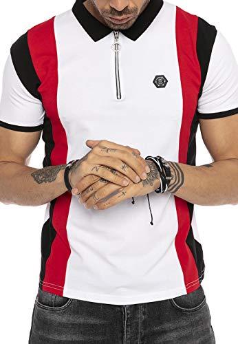 Redbridge Herren Kurzarm T-Shirt Streifen Look Casual Poloshirt Stretch Shirts Weiß S