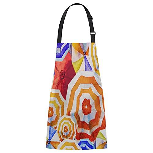 Delantal con babero, colorido paraguas resistente al aceite, delantal de cocina con 2 bolsillos, impermeables, ajustables, para mujeres, hombres, cocinar, hornear, jardinería,...