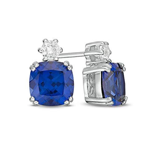 2Hearts Aretes de diamantes de imitación de zafiro azul de talla cojín de 7.0 mm para mujeres y niñas en plata de ley 925