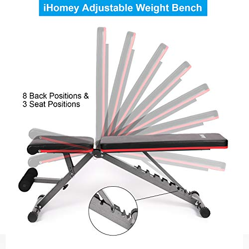 iHomey Foldable Weight Bench, Adjustable Workout Bench for Full Body Strength Training, Utility Incline and Decline Bench for Home Gym (dark black) (black red)