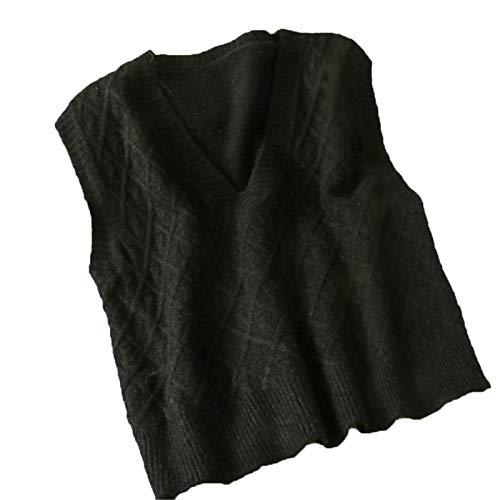Suéter Chaleco Mujer Sin Mangas Suéter de Todo fósforo Gráficos con Cuello en V Tops de Punto Outwear Chaleco Black One Size