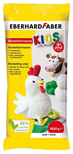 Eberhard Faber 570102 - EFAPlast Kids Modelliermasse in weiß, Inhalt 1 kg, lufthärtend, tonähnlich, kreatives Bastelvergnügen für kleine und große Künstler