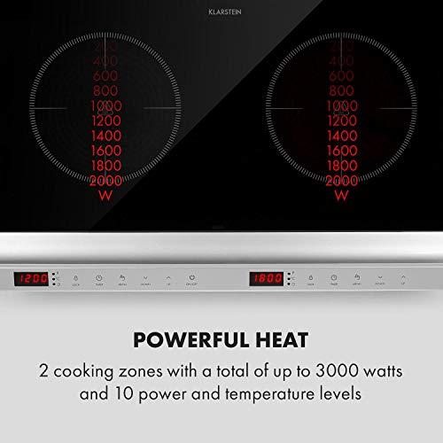 Klarstein MisterCook Duo placa de cocina infrarrojo - 2 zonas de cocción, 3000 W, 10 niveles de potencia y temperatira, 90-650 °C, Programable, Control táctil, No se recalienta, Plateado