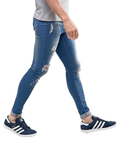 Men's Vintage Street Style Super Skinny Fit Jeans Knees Rips and Repair Blue 28