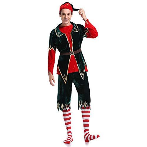 Yissma - Disfraz de elfo navideño para hombres, vestido con cinturón y calcetines, large