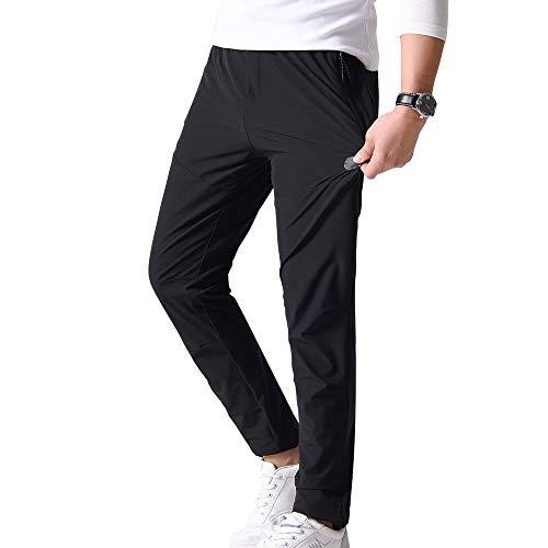 YIRUIYA Herren Trekkinghose Basic Sporthose Lang Stretch Arbeitshose Kompression Slim Fit, Schwarz-01 XL