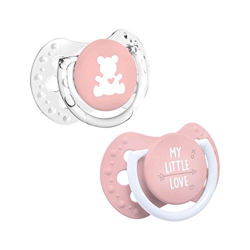LOVI 2x Mini sucette en silicone bébé 0-2 mois | Lot de 2 | Petit bouclier lumineux | Protège le réflexe de succion | Housse hygiénique | Collection My Little Love | Rose