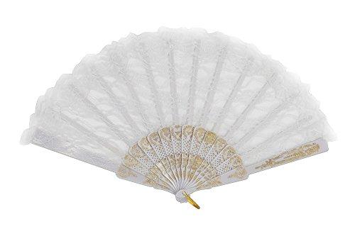DRESS ME UP - SZ-001-gB-white Barock Viktorianisch Damenfächer Fächer Edeldame Adlige Königin...