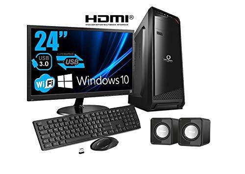 PC DESKTOP COMPUTER COMPLETO INTEL QUAD CORE 3,0GHZ WINDOWS 10 PRO 64 BIT - RAM 8GB - SSD 240 GB - WIFI - HDMI - VGA - MONITOR 24 HDMI VGA - TASTIERA E MOUSE USB CASSE AUDIO