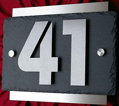 Hausnummer aus Edelstahl und Schiefer 3D Hausnummernschild Türschild