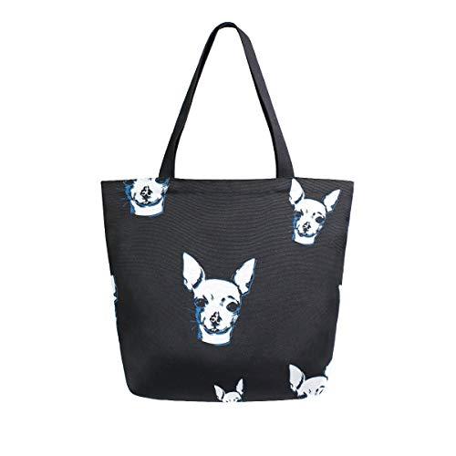 MNSRUU Chihuahua Hund Welpe Hund Lebensmittel Wiederverwendbare Handtasche Damen Große Casual Handtasche Schultertasche für Einkaufen Lebensmittel Reisen Outdoor