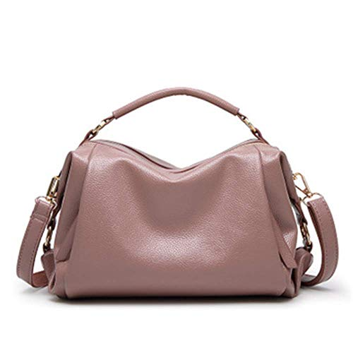 XYAZ Moda para mujer Litchi Pattern Simple Boston Bag Trendy Wild Handbags Hombro Messenger Bags,Rosado