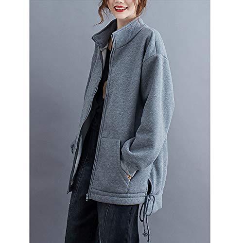 『Semo1mus レディース ジャケット 冬 コート カジュアル 防寒 ゆったり 厚手ファッション 体型カバー おしゃれ グレー』の3枚目の画像