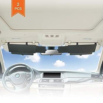 Car Visor Sunshade Extender TFY Anti-Glare Sun Visor Extender Window Sunshade and UV Rays Blocker - Black  2 Pieces