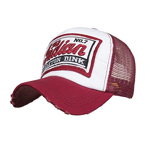 JKFXMN Summer Cap Mesh Hüte Für Männer Frauen Casual Hüte Hip Hop Bestickte Baseballmützen Gorras Mujer Casquette Homme, Wein