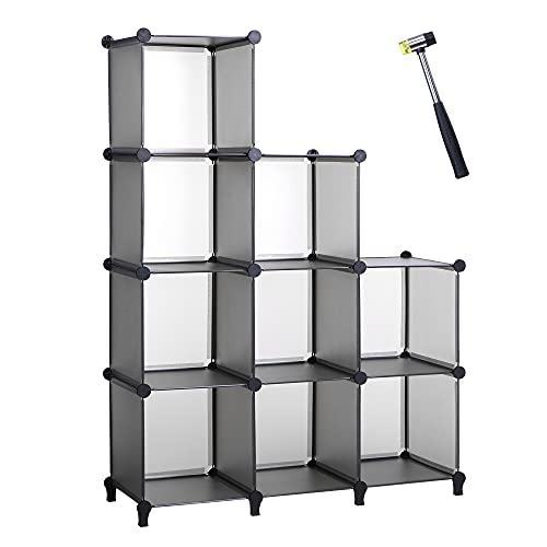 ANWBROAD 9-Cubo Organizador de almacenamiento Armario de bricolaje Estantería Plástico Modular de almacenamiento Martillo Estantería para Hogar Dormitorio Oficina Sala Gris LCS009H