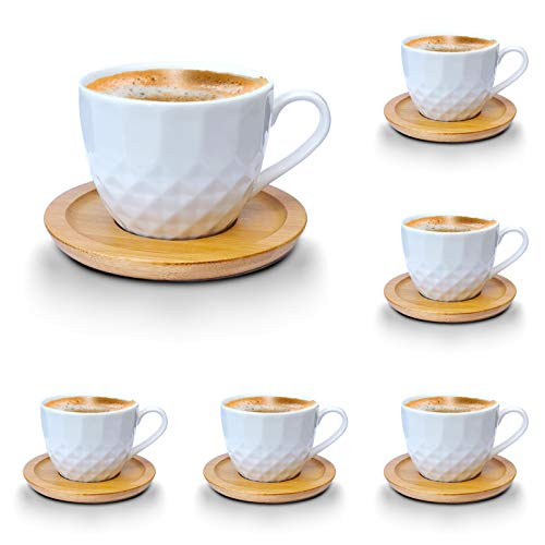 Espressotassen-Set weiss Porzellan Tassen Teeservice Kaffeeservice mit Bambus Untertassen 12-Teilig (Espressotassen 100ml, Mod3)