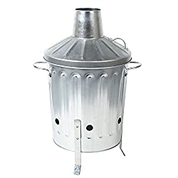 CrazyGadget Small Medium Large Extra Large Galvanised Metal Incinerator Fire Burning Bin with Special Locking Lid, Constructed from durable galvanised steel SPECIAL LOCKING securing lid on the handle (Excl. 15L & 18L), Ready-made ventilation holes en...