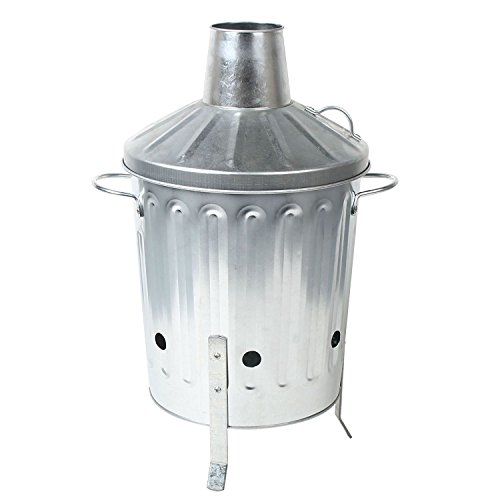 CrazyGadget Small Medium Large Extra Large Galvanised Metal Incinerator Fire Burning Bin with Special Locking Lid (15 Litre)
