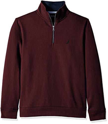 Nautica Men's Solid 1/4 Zip Fleece Sweatshirt, Shipwreck Burgundy Heather, X-Large