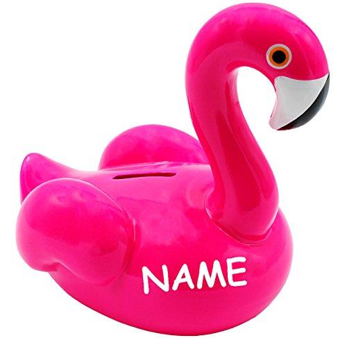 alles-meine.de GmbH XL Spardose -  Flamingo - NEON - rosa / pink  - incl. Name - stabile Sparbüchse - aus Porzellan / Keramik - 17 cm - Sparschwein - für Kinder & Erwachsene / ..