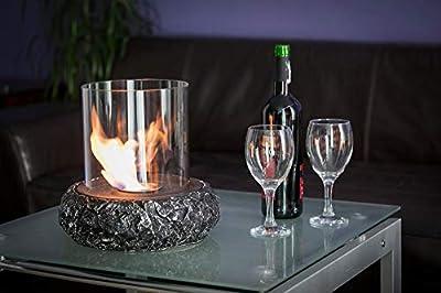 Bio Ethanol Fireplace Round Indoor Outdoor Camping Glass Top Burner Safe Steel
