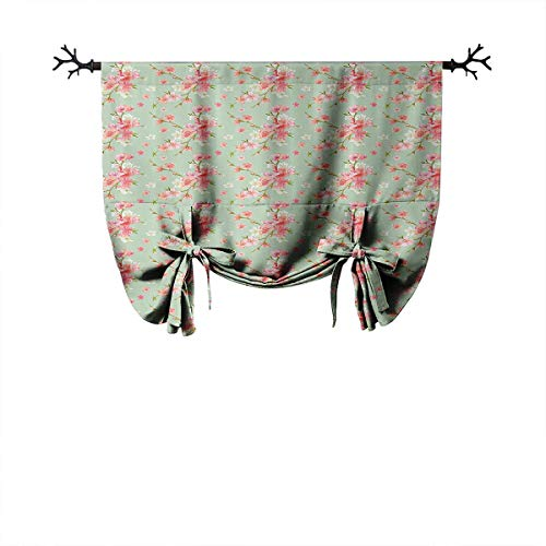 LanQiao Shabby Chic Mobile Thermal Curtain Retro Spring Blossom Flowers with French Garden Florets Garland Artisan Image Insulated Blackout Curtains W42 xL64 Mint Pink