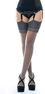 Cervin Women's Seduction Bicolore non-stretch seamed stockings