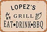 none_branded Lopez'S Grill Eat Drink BBQ Cartel de Chapa Metal Advertencia Placa de Chapa de Hierro Retro Cartel Vintage para Dormitorio Pared Familiar Aluminio Arte Decoración