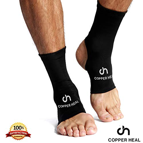 Ankle Compression Sleeve by COPPER HEAL (Pair) - Highest Copper Infused Brace Socks Arch Support Foot Swelling Achilles Tendon Joint Pain Plantar Fasciitis Sports Injury Night Splint Orthotic Inserts