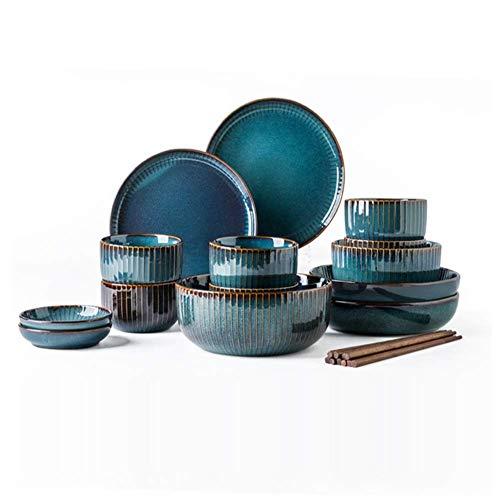 Xiao-bowl3 Tiefblaues Keramikgeschirr 6 Personen Geschirrset Teller Schüssel Tasse Soße Teller Porzellan Geschirr 20-teiliges Set