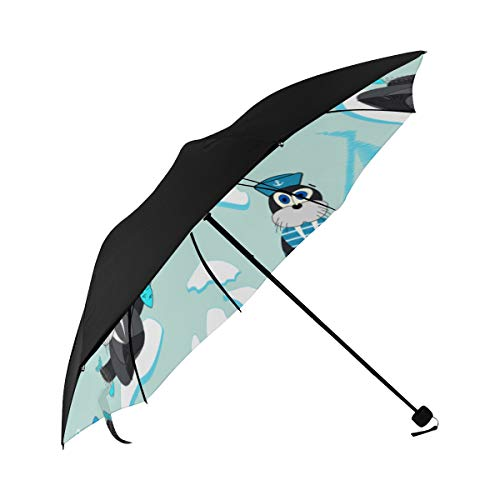 Paraguas Sun Shade Seal Divertido Lovely Move Movimiento de la parte inferior Impresión Patio Paragüero Rain Parasol Umbrella Travel Windproof Umbrella With 95% Uv Protection For...