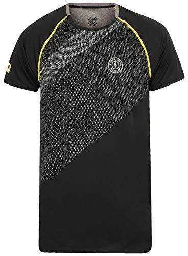 Gold's Gym Performance Raglan Sleeve T-Shirt Camiseta, Hombre, Negro/Gris, Extra-Large