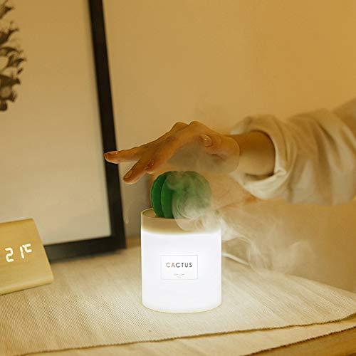 PElight USB oplaadbare multifunctionele Cactus Light Mini tafellamp, verstuiving luchtbevochtiger nachtlampje, tijdgestuurde aromadiffuser