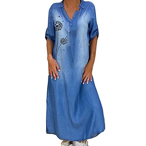 Zzbeans Kleider Damen Lang, Damen Sommer V Ausschnitt Jeanskleid Damen Sommer Schmetterlingsdruck Maxi Kleider für Damen Sommer Freizeit Große...