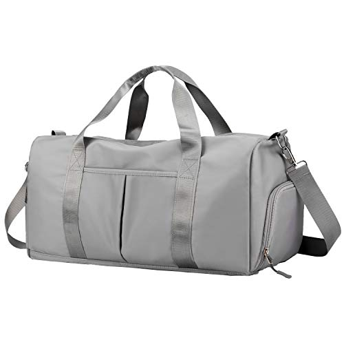 Forestfish Sports Gym Bag Travel Duffel Bag with Dry Wet Pocket & Shoes Compartment for Women and Men (grey)