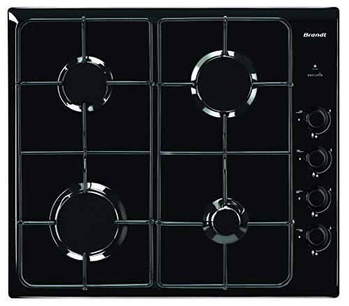 Brandt BPE6410B - Plaque à gaz - Encastrable - 4 Foyers - 7800W - L58 x P51cm - Revêtement verre - Noir - Fabrication Française