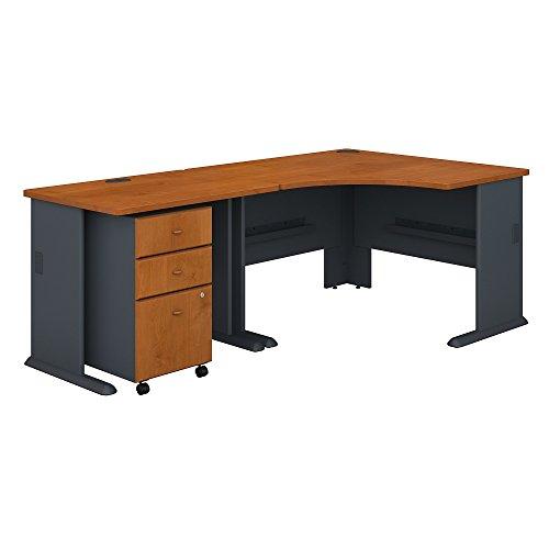 Bush Business Furniture Series A 48W Corner Desk with 36W Return and Mobile File Cabinet - Natural Cherry/Slate 83W X 47D X 30H ERGONOMICHOME BUSH BUSINESS FURNITURE