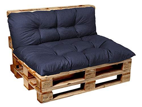 Garden factory Coussins pour Canape Euro Palette, Assise, Dossier, Set, extérieur intérieur Set (Assise 120x80+Dossier 120x40)