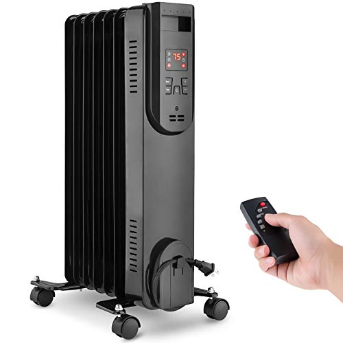 Electric Oil Filled Radiator Heater, 1500W Portable Room Space Heater For Indoor Use With Adjustable Thermostat, Tip-over Off & Overheat Protection, Remote Control, 12H Timer, Quiet For Bedroom Office